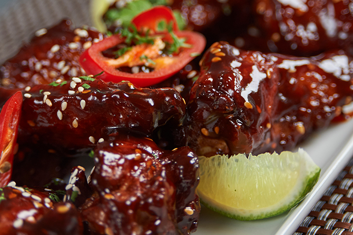 Duck Wings in Korean BBQ Sauce