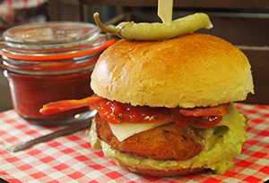 Louisiana Tabasco Chicken Fillet with Smashed Avocado and Bacon Burger
